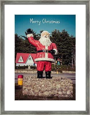 Vintage Santa Claus Christmas Card Framed Print by Edward Fielding