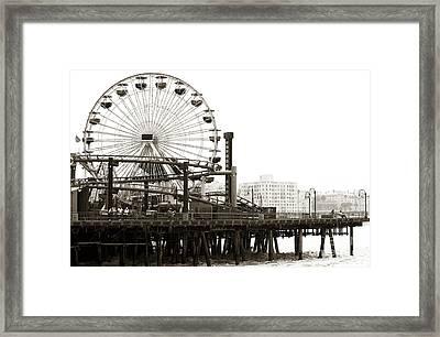Vintage Santa Monica Pier Framed Print by John Rizzuto