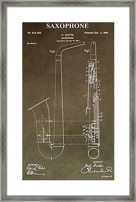 Vintage Saxophone Patent Framed Print by Dan Sproul