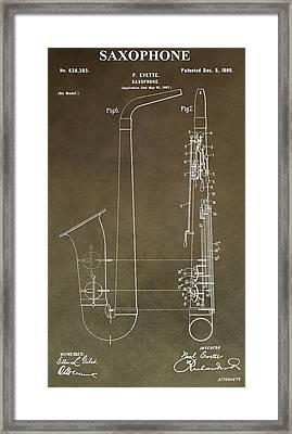 Vintage Saxophone Patent Framed Print by Dan Sproul