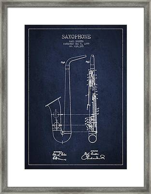 Saxophone Patent Drawing From 1899 - Blue Framed Print by Aged Pixel