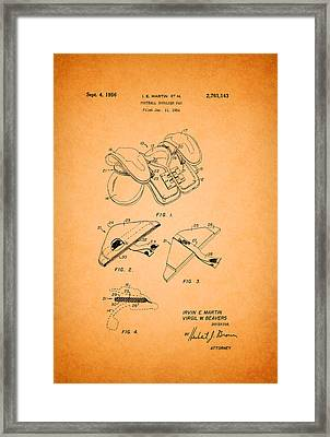 Vintage Shoulder Pad Patent 1956 Framed Print by Mountain Dreams