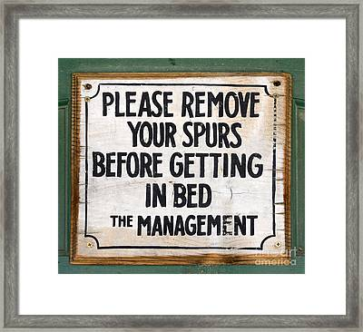 Vintage Sign For Cowboys And Cowgirls  Framed Print by Bob Christopher