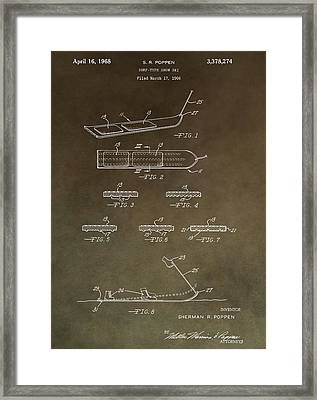 Vintage Snowboard Patent Framed Print by Dan Sproul