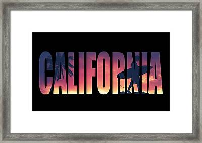 Vintage Style California Postcard Framed Print by Mr Doomits