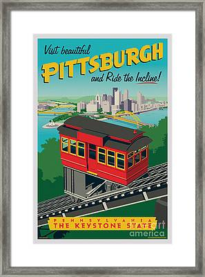 Vintage Style Pittsburgh Incline Travel Poster Framed Print by Jim Zahniser