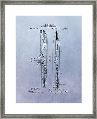 Vintage Submarine Boat Patent Framed Print by Dan Sproul