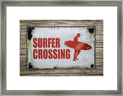 Vintage Surfer Crossing Sign On Wood Framed Print by Mr Doomits