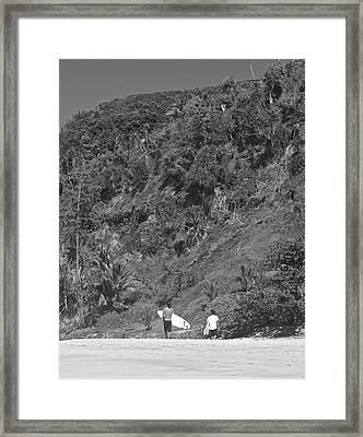 Vintage Surfers Framed Print by Steven Lapkin
