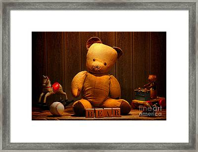 Vintage Teddy Bear And Toys Framed Print by Olivier Le Queinec