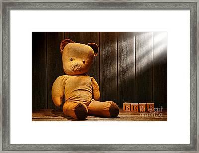 Vintage Teddy Bear Framed Print by Olivier Le Queinec