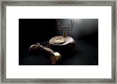 Vintage Telephone Dark Off The Hook Framed Print by Allan Swart