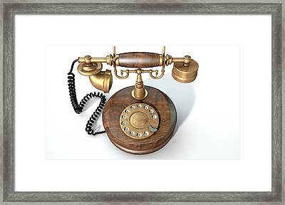 Vintage Telephone Isolated Framed Print by Allan Swart