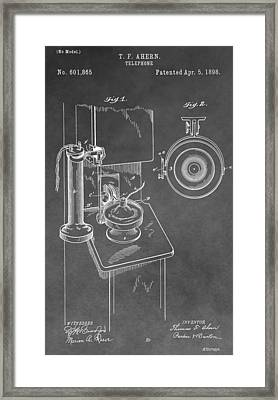 Vintage Telephone Patent Framed Print by Dan Sproul
