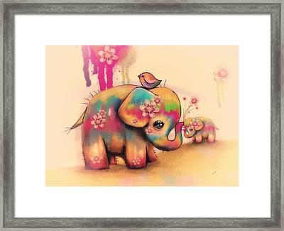 Vintage Tie Dye Elephants Framed Print by Karin Taylor