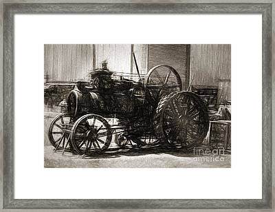 Vintage Tractor Drawing In Industrialised 1900s Framed Print by Jorgo Photography - Wall Art Gallery