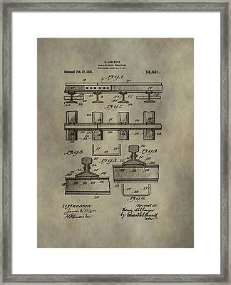 Vintage Train Track Patent Framed Print by Dan Sproul