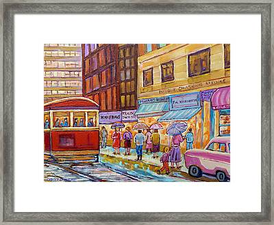 Vintage Tram Car-montreal Downtown Scene-classic Chevy Car Framed Print by Carole Spandau