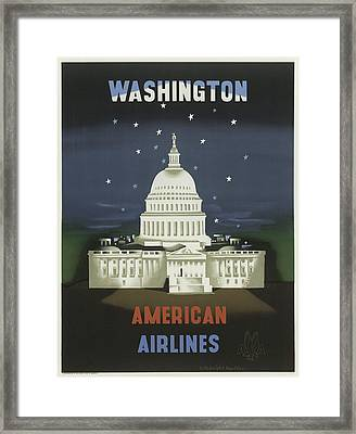 Vintage Travel Poster - Washington Framed Print by Georgia Fowler
