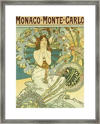 Vintage Travel Poster For Monaco Monte Carlo Framed Print by Alphonse Marie Mucha
