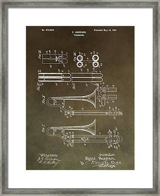Vintage Trombone Patent Framed Print by Dan Sproul
