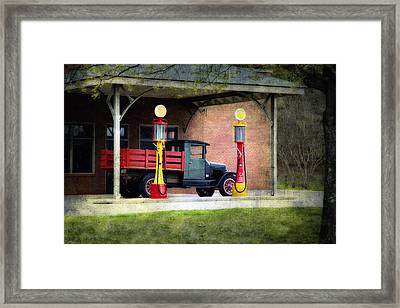 Vintage Truck And Gas Pumps Framed Print by Judy Kennamer