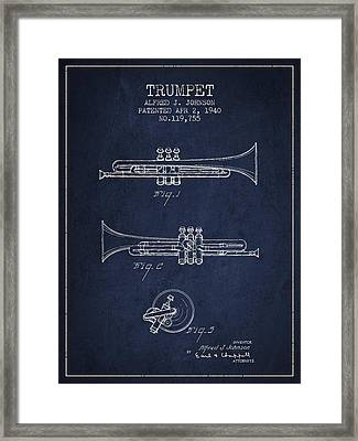Vintage Trumpet Patent From 1940 - Blue Framed Print by Aged Pixel