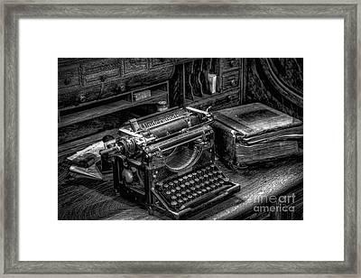 Vintage Typewriter Framed Print by Adrian Evans