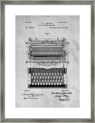 Vintage Typewriter Patent Art 1896 Framed Print by Edward Fielding