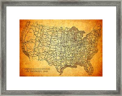 Vintage United States Highway System Map On Worn Canvas Framed Print by Design Turnpike