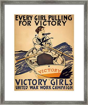 Vintage Victory Girls World War I Poster 1918 Framed Print by Mountain Dreams