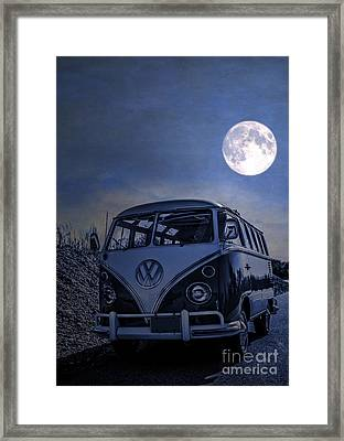 Vintage Vw Bus Parked At The Beach Under The Moonlight Framed Print by Edward Fielding