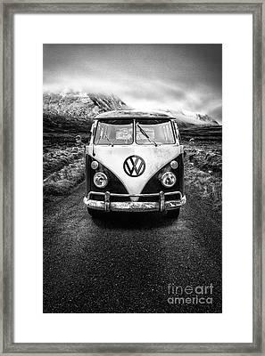 Vintage Vw Camper Framed Print by John Farnan