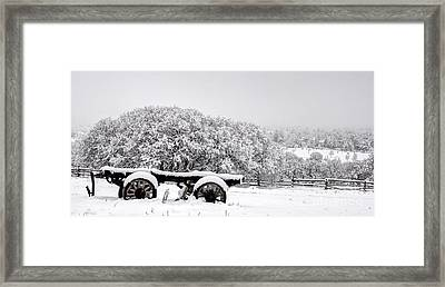 Vintage Wagon In Snow And Fog Filled Valley Framed Print by Gary Whitton