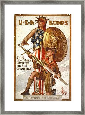 Vintage War Bonds Poster 1917 Framed Print by Padre Art
