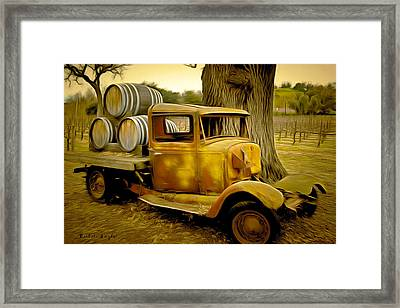 Vintage Wine Vintage Truck Framed Print by Barbara Snyder
