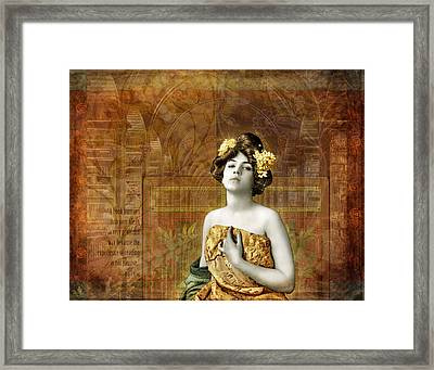 Vintage Woman In Library Framed Print by Cat Whipple