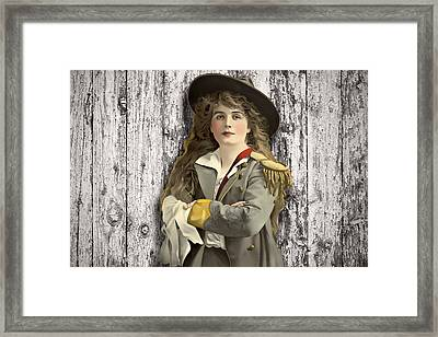Vintage Woman In Uniform Framed Print by Peggy Collins