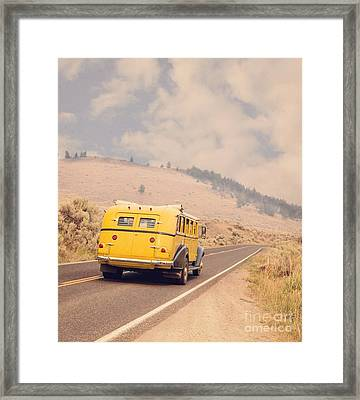 Vintage Yellowstone Bus Framed Print by Edward Fielding