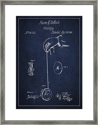 Vintage Yoyo Patent Drawing From 1866 Framed Print by Aged Pixel