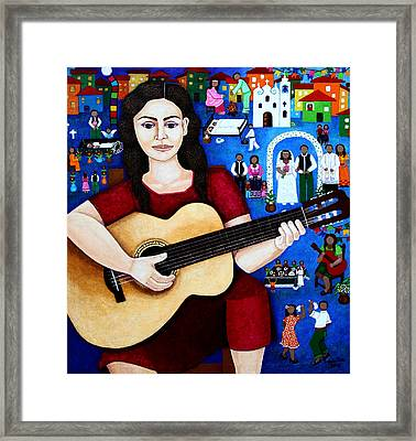 Violeta Parra And The Song Black Wedding Framed Print by Madalena Lobao-Tello