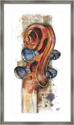 Violin 02 Elena Yakubovich Framed Print by Elena Yakubovich