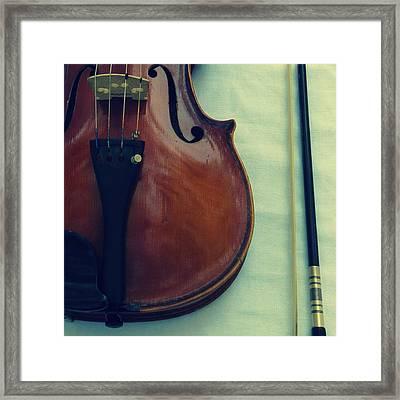 Violin And Bow Framed Print by Patricia Januszkiewicz