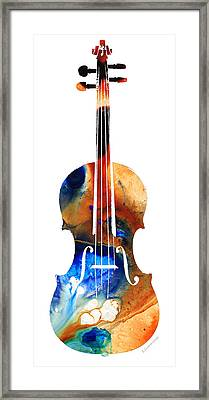 Violin Art By Sharon Cummings Framed Print by Sharon Cummings