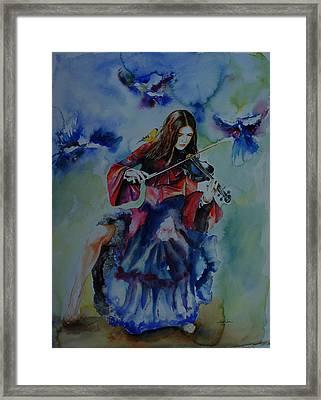 Violin Music For Birds Framed Print by Isabel Salvador