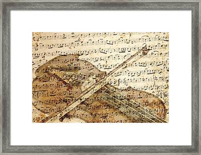 Violin Musical Note Background Framed Print by Gregory DUBUS