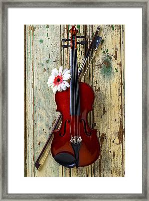 Violin On Old Door Framed Print by Garry Gay