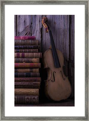 Violin With Old Books Framed Print by Garry Gay