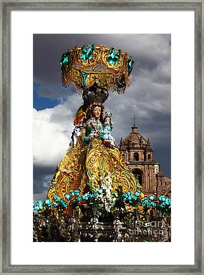 Virgen De Belen Cusco Framed Print by James Brunker