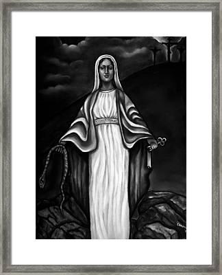 Virgen Mary In Black And White Framed Print by Carmen Cordova